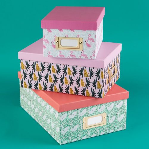 Pretty Decorative Office & Home Storage Boxes - Set Of 3 Flamingo, Leopard and Swan Design